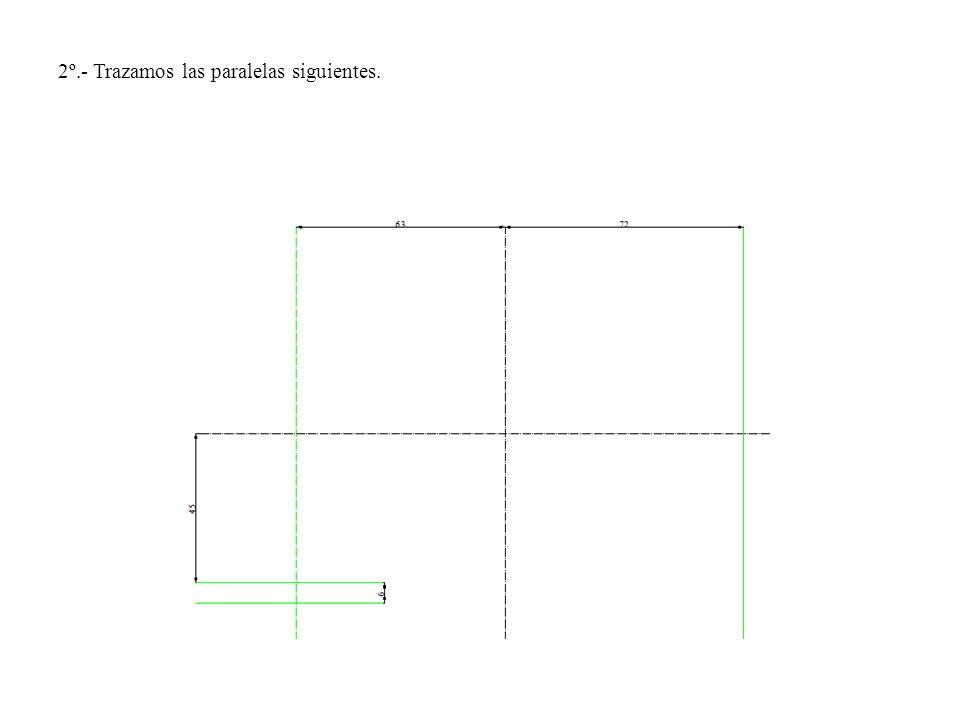 2º.- Trazamos las paralelas siguientes.