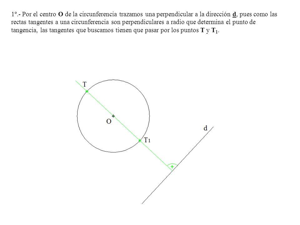 1º.- Por el centro O de la circunferencia trazamos una perpendicular a la dirección d, pues como las rectas tangentes a una circunferencia son perpend