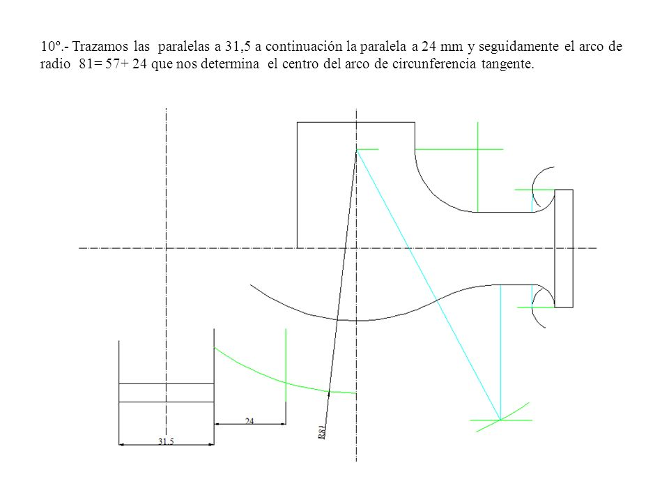 10º.- Trazamos las paralelas a 31,5 a continuación la paralela a 24 mm y seguidamente el arco de radio 81= 57+ 24 que nos determina el centro del arco