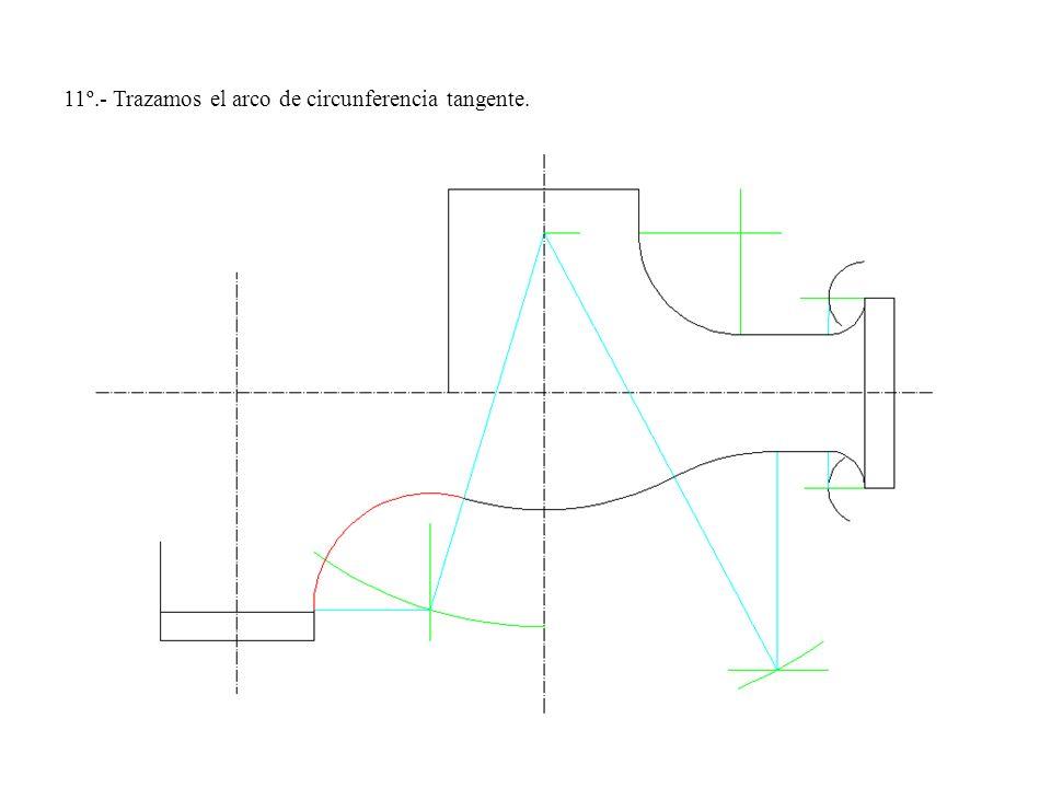 11º.- Trazamos el arco de circunferencia tangente.