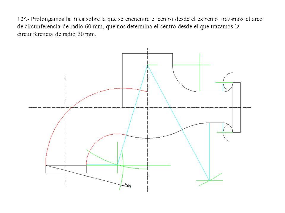 12º.- Prolongamos la línea sobre la que se encuentra el centro desde el extremo trazamos el arco de circunferencia de radio 60 mm, que nos determina e