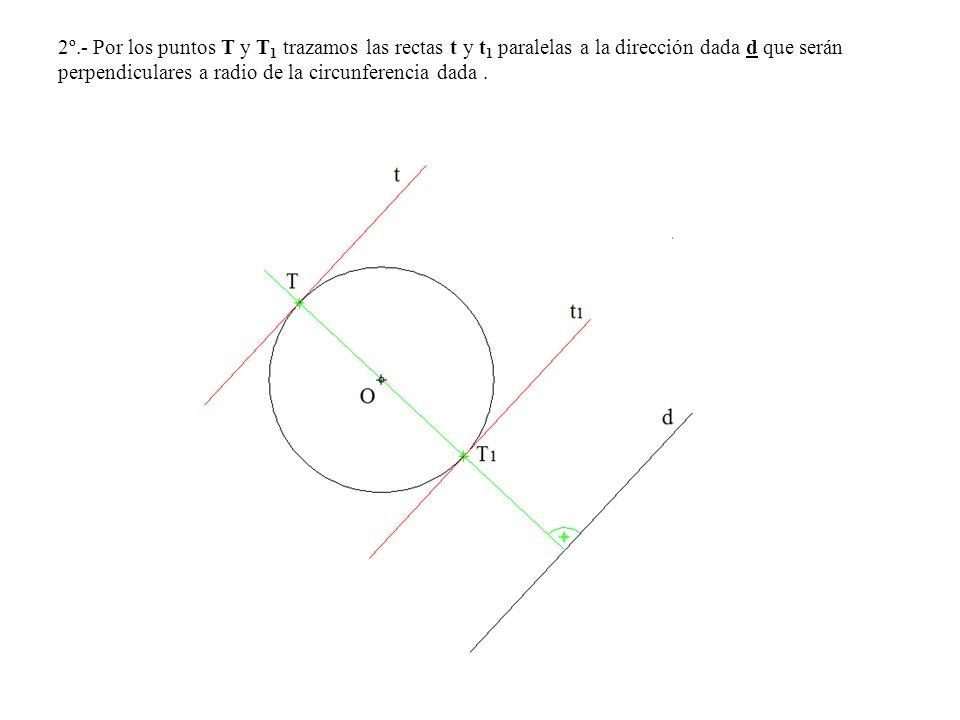 2º.- Por los puntos T y T 1 trazamos las rectas t y t 1 paralelas a la dirección dada d que serán perpendiculares a radio de la circunferencia dada.