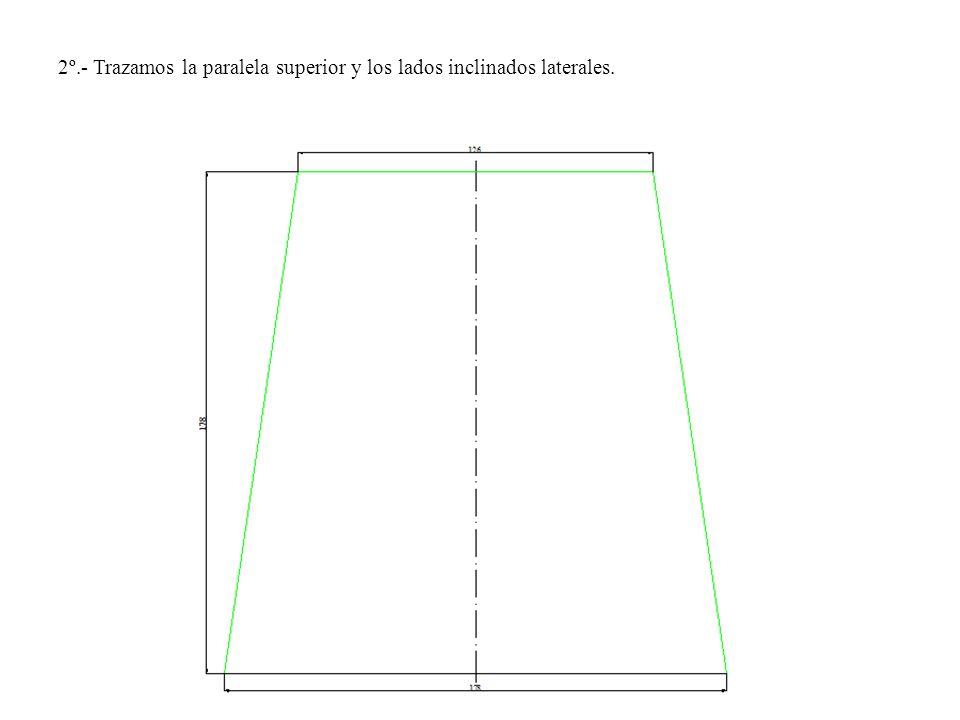 2º.- Trazamos la paralela superior y los lados inclinados laterales.