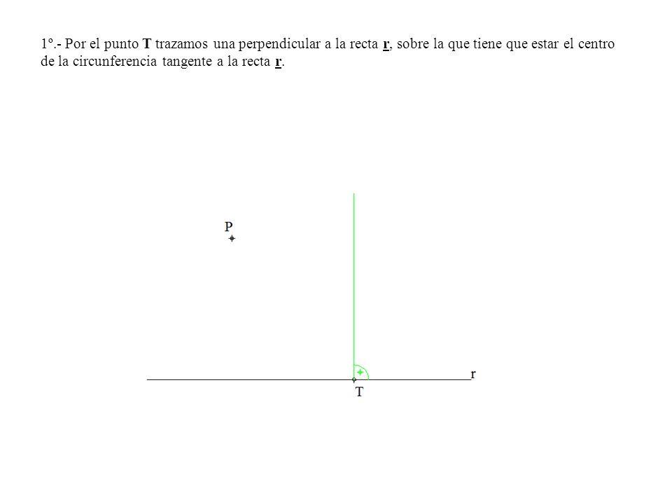 1º.- Por el punto T trazamos una perpendicular a la recta r, sobre la que tiene que estar el centro de la circunferencia tangente a la recta r.