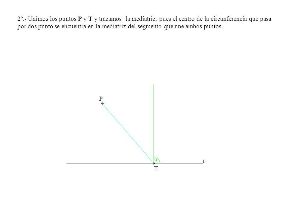 2º.- Unimos los puntos P y T y trazamos la mediatriz, pues el centro de la circunferencia que pasa por dos punto se encuentra en la mediatriz del segm