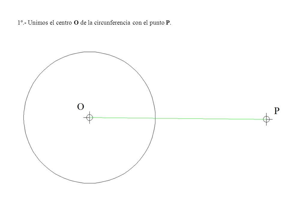 1º.- Unimos el centro O de la circunferencia con el punto P.