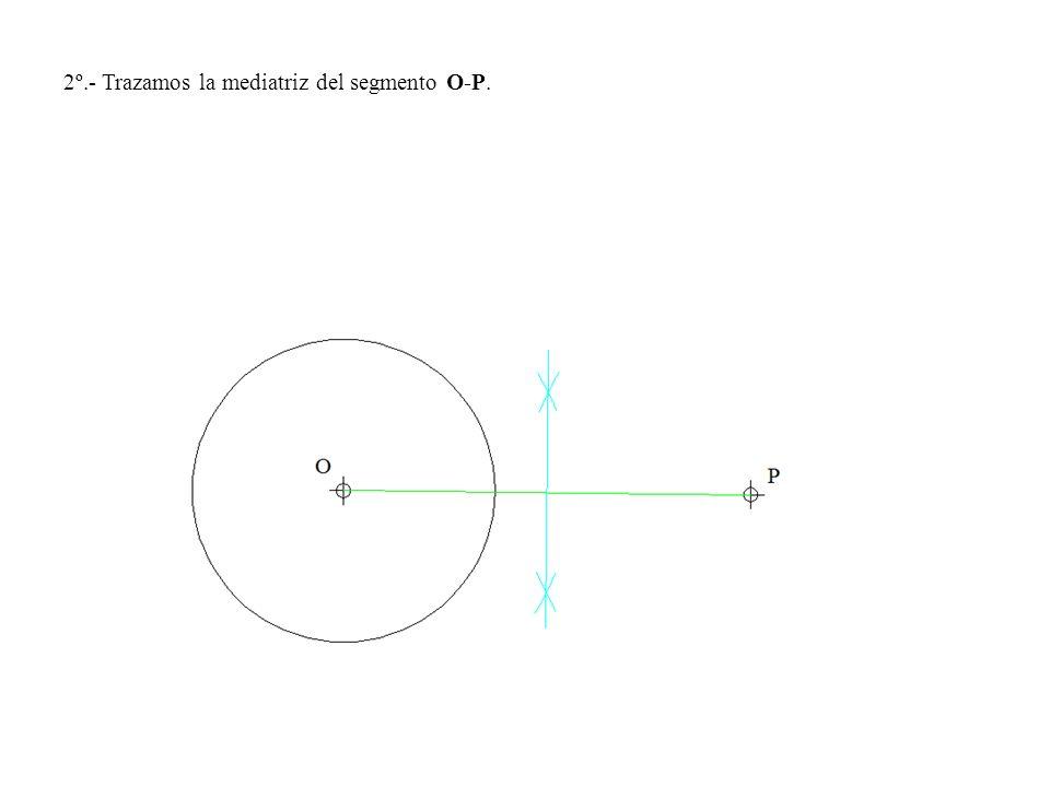 2º.- Trazamos la mediatriz del segmento O-P.
