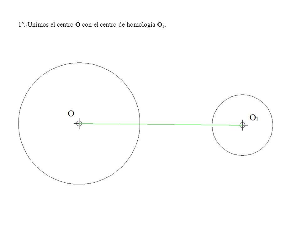 1º.-Unimos el centro O con el centro de homología O 1.