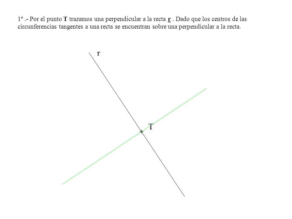 1º.- Por el punto T trazamos una perpendicular a la recta r. Dado que los centros de las circunferencias tangentes a una recta se encuentran sobre una
