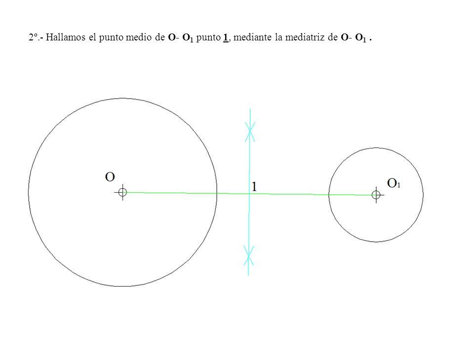 2º.- Hallamos el punto medio de O- O 1 punto 1, mediante la mediatriz de O- O 1.