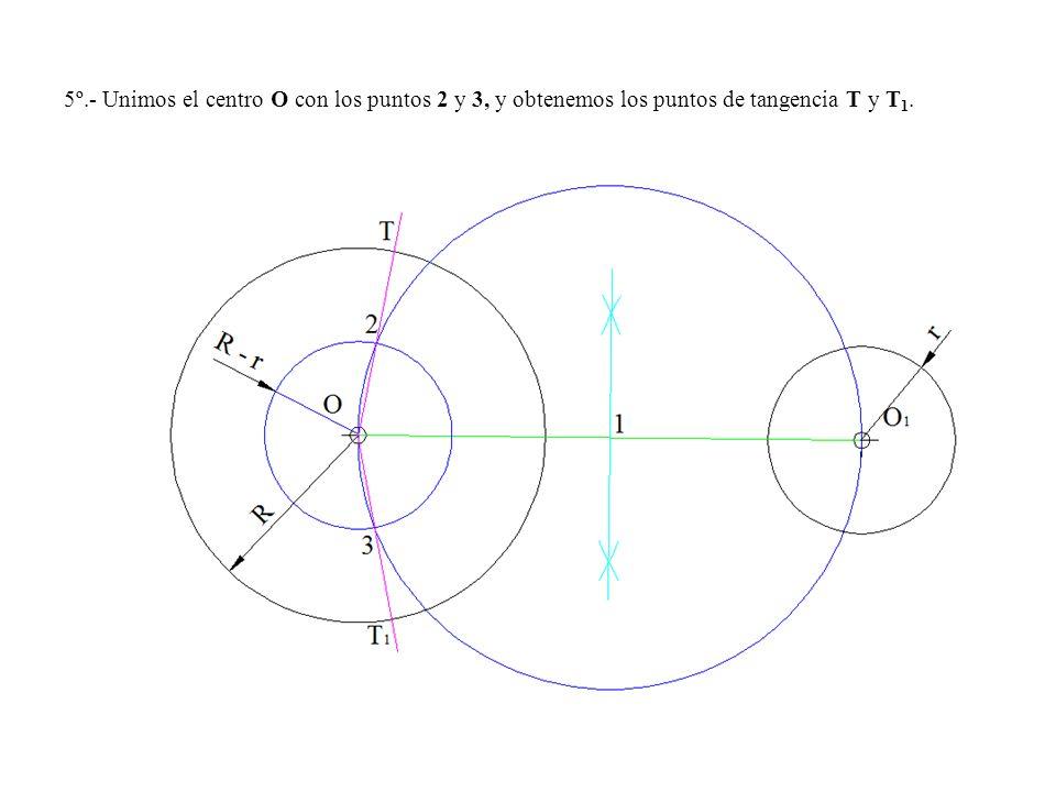 5º.- Unimos el centro O con los puntos 2 y 3, y obtenemos los puntos de tangencia T y T 1.