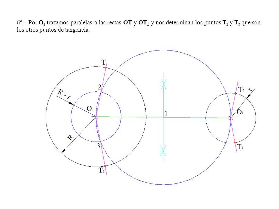 6º.- Por O 1 trazamos paralelas a las rectas OT y OT 1 y nos determinan los puntos T 2 y T 3 que son los otros puntos de tangencia.