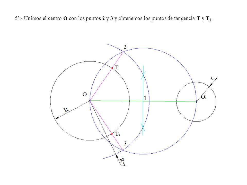 5º.- Unimos el centro O con los puntos 2 y 3 y obtenemos los puntos de tangencia T y T 1.