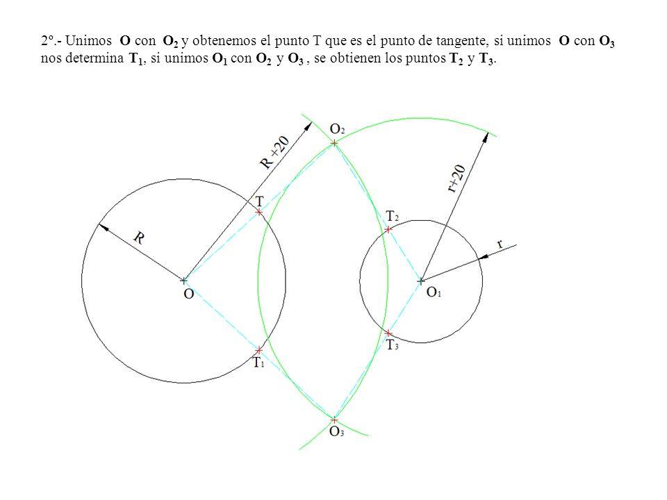 2º.- Unimos O con O 2 y obtenemos el punto T que es el punto de tangente, si unimos O con O 3 nos determina T 1, si unimos O 1 con O 2 y O 3, se obtie
