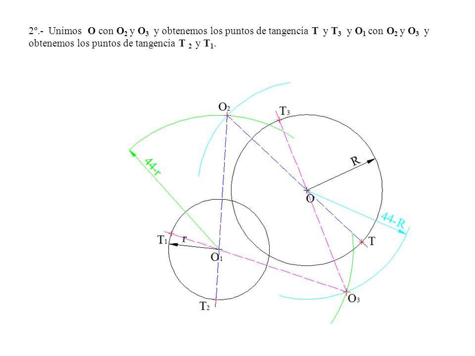 2º.- Unimos O con O 2 y O 3 y obtenemos los puntos de tangencia T y T 3 y O 1 con O 2 y O 3 y obtenemos los puntos de tangencia T 2 y T 1.