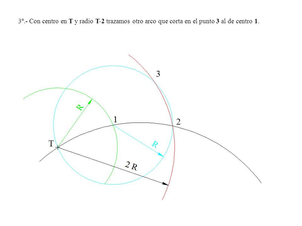 3º.- Con centro en T y radio T-2 trazamos otro arco que corta en el punto 3 al de centro 1.