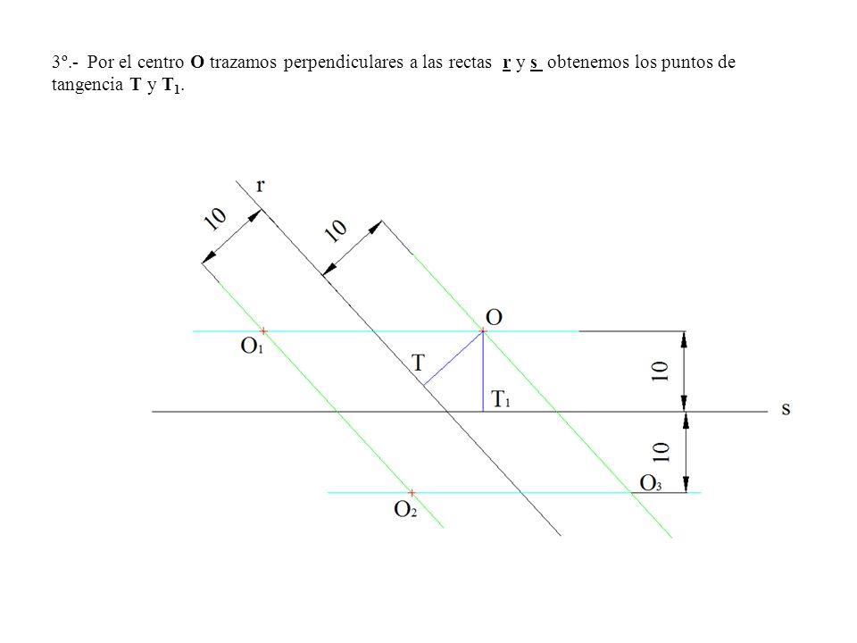 3º.- Por el centro O trazamos perpendiculares a las rectas r y s obtenemos los puntos de tangencia T y T 1.