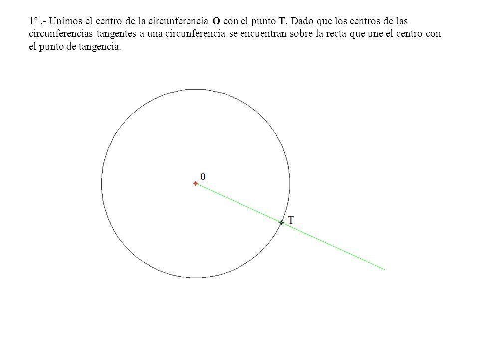 1º.- Unimos el centro de la circunferencia O con el punto T. Dado que los centros de las circunferencias tangentes a una circunferencia se encuentran