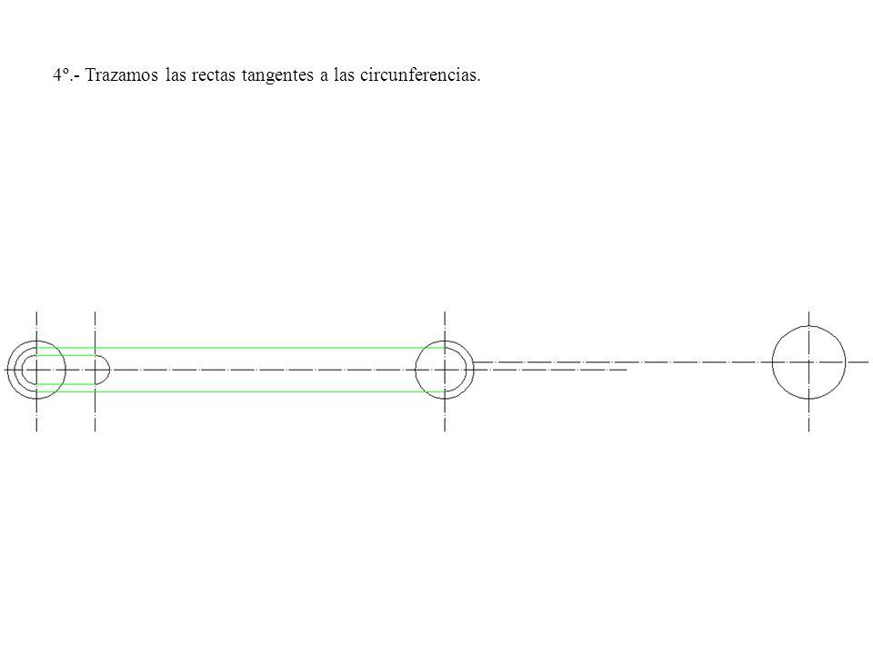 4º.- Trazamos las rectas tangentes a las circunferencias.