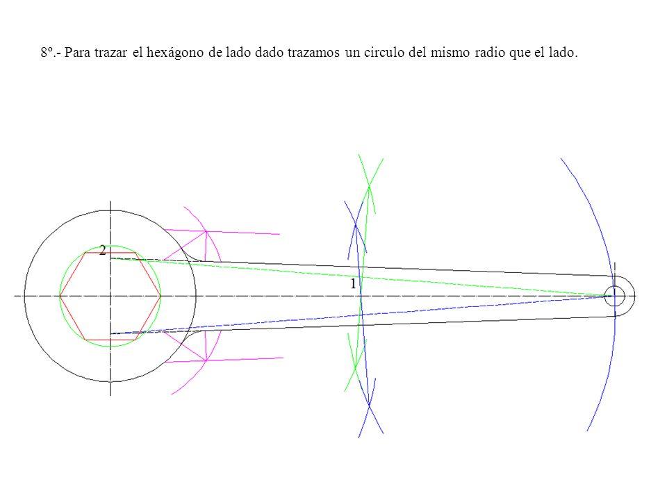 8º.- Para trazar el hexágono de lado dado trazamos un circulo del mismo radio que el lado.