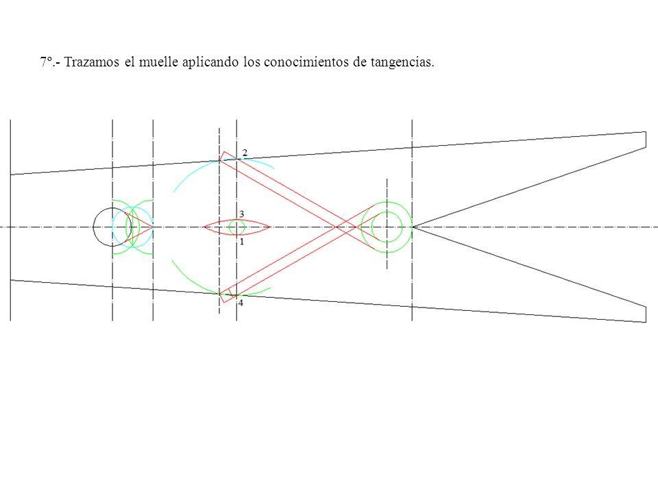 7º.- Trazamos el muelle aplicando los conocimientos de tangencias.