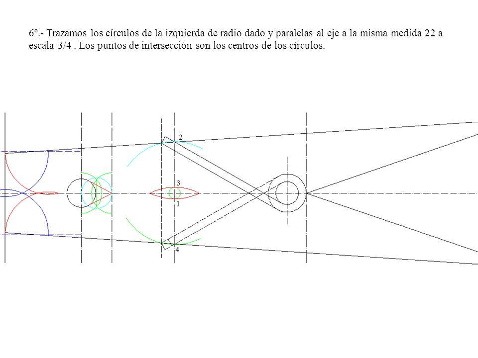 6º.- Trazamos los círculos de la izquierda de radio dado y paralelas al eje a la misma medida 22 a escala 3/4. Los puntos de intersección son los cent