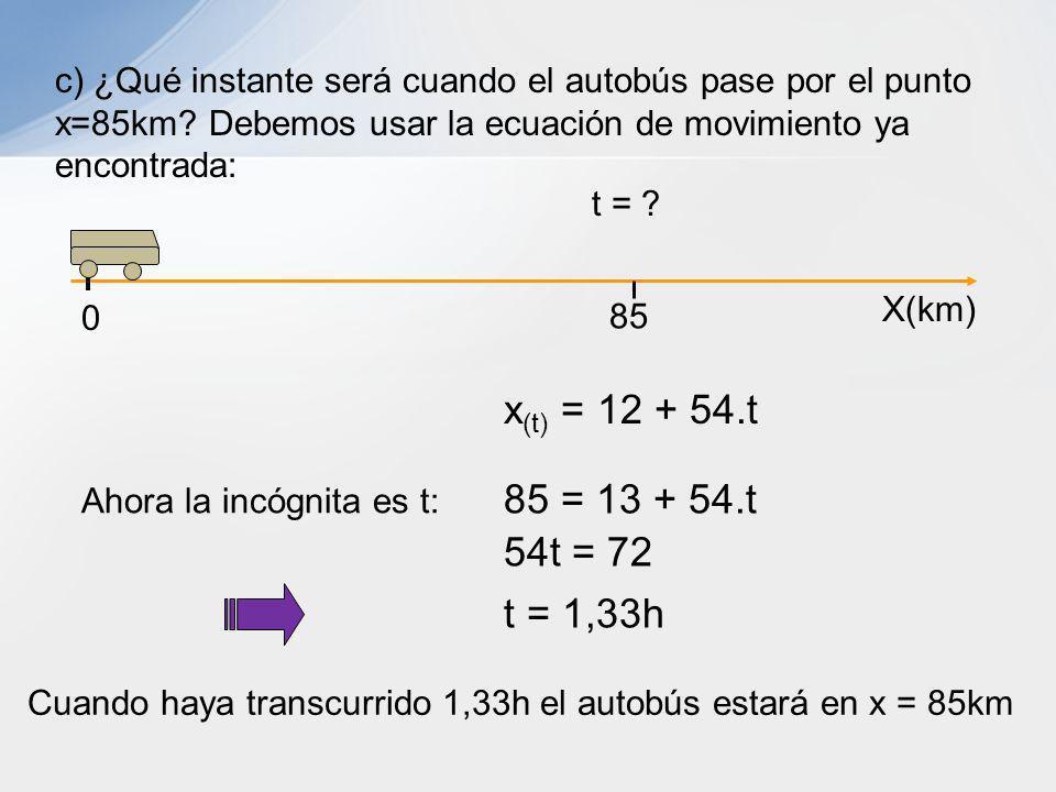 Cuando haya transcurrido 1,33h el autobús estará en x = 85km c) ¿Qué instante será cuando el autobús pase por el punto x=85km? Debemos usar la ecuació