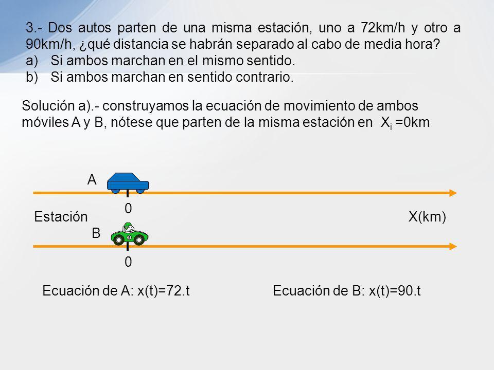 3.- Dos autos parten de una misma estación, uno a 72km/h y otro a 90km/h, ¿qué distancia se habrán separado al cabo de media hora? a)Si ambos marchan