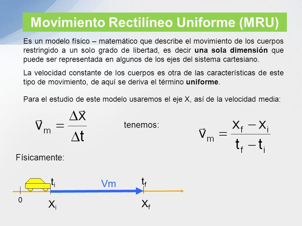 Movimiento Rectilíneo Uniforme (MRU) Es un modelo físico – matemático que describe el movimiento de los cuerpos restringido a un solo grado de liberta