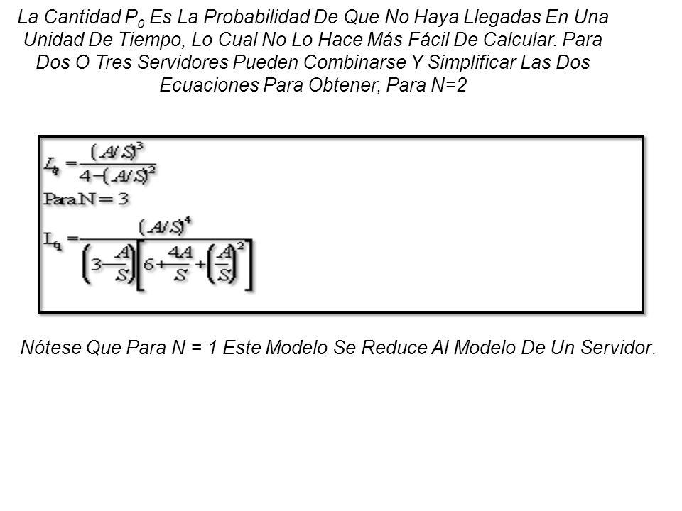 La Cantidad P 0 Es La Probabilidad De Que No Haya Llegadas En Una Unidad De Tiempo, Lo Cual No Lo Hace Más Fácil De Calcular. Para Dos O Tres Servidor