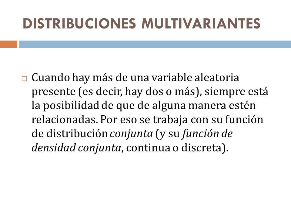 DISTRIBUCIONES MULTIVARIANTES Se habla en ese caso de un vector aleatorio (lo anotaremos aquí X), distribuido según una función de distribución F X que ahora toma sus valores en n (donde n es la cantidad de variables).