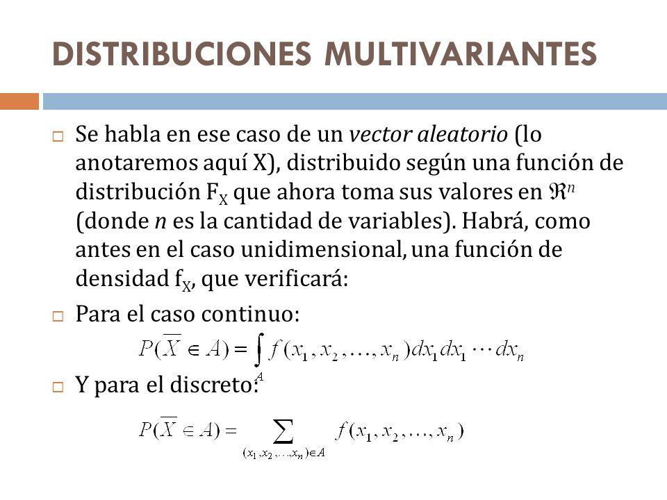 DISTRIBUCIONES MULTIVARIANTES Se habla en ese caso de un vector aleatorio (lo anotaremos aquí X), distribuido según una función de distribución F X qu