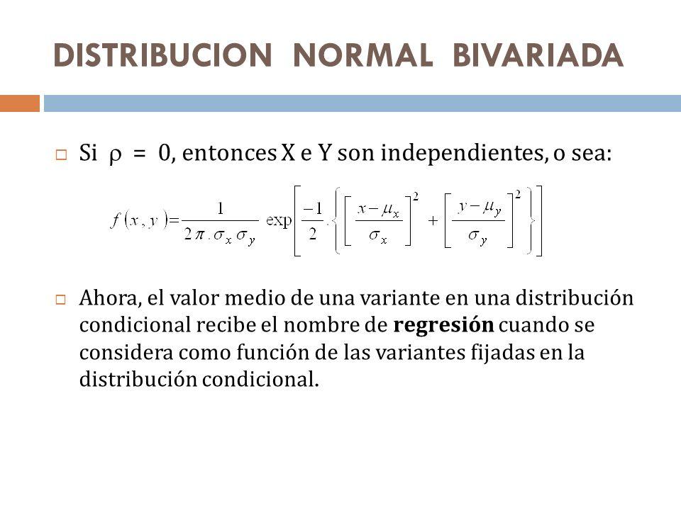 Si = 0, entonces X e Y son independientes, o sea: Ahora, el valor medio de una variante en una distribución condicional recibe el nombre de regresión