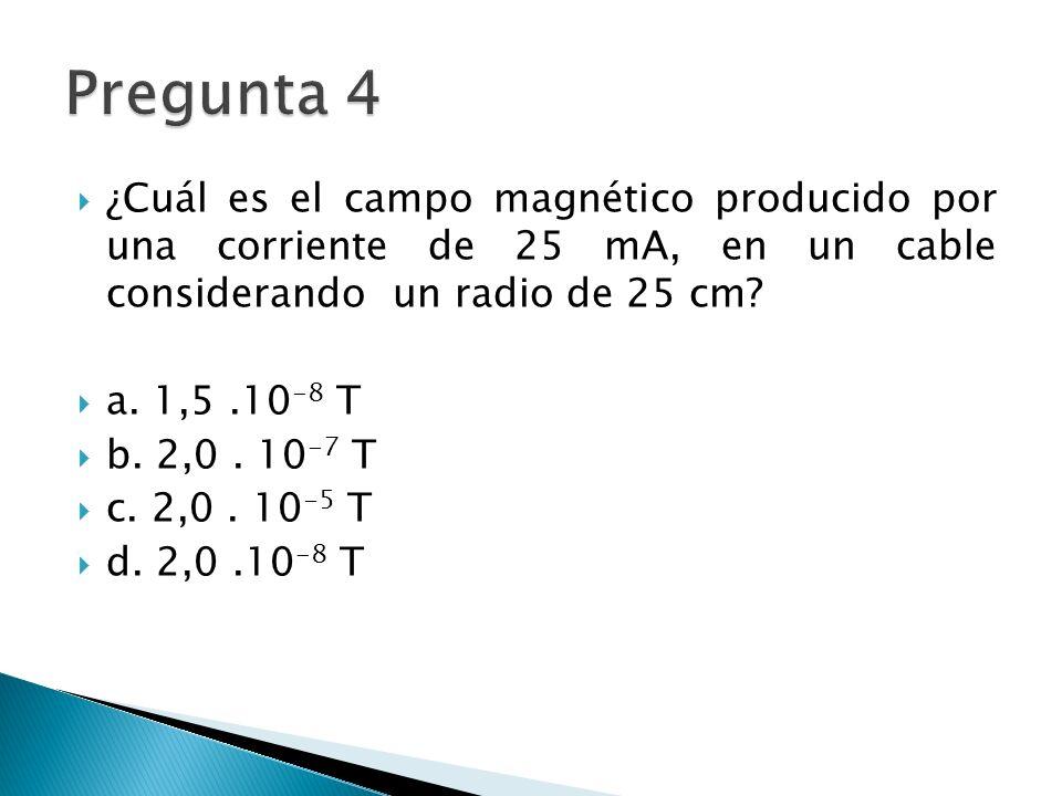 ¿Cuál es el campo magnético producido por una corriente de 25 mA, en un cable considerando un radio de 25 cm.
