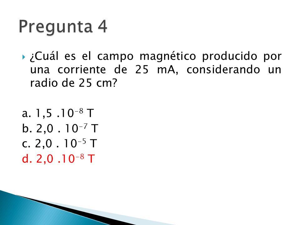 ¿Cuál es el campo magnético producido por una corriente de 25 mA, considerando un radio de 25 cm.