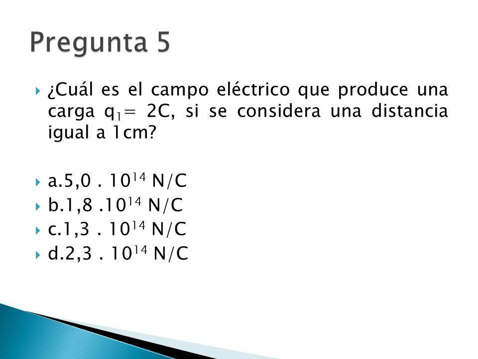 ¿Cuál es el campo eléctrico que produce una carga q 1 = 2C, si se considera una distancia igual a 1cm.