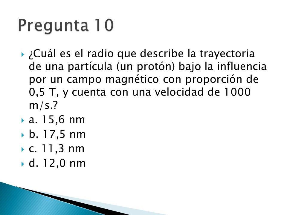 ¿Cuál es el radio que describe la trayectoria de una partícula (un protón) bajo la influencia por un campo magnético con proporción de 0,5 T, y cuenta con una velocidad de 1000 m/s..