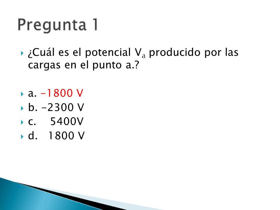 ¿Cuál es el potencial V a producido por las cargas en el punto a..