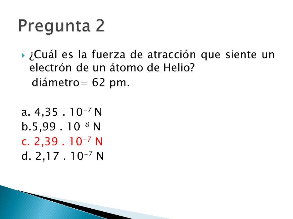 ¿Cuál es la fuerza de atracción que siente un electrón de un átomo de Helio.