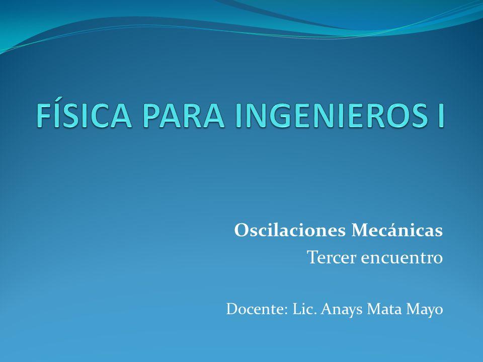Oscilaciones Mecánicas Tercer encuentro Docente: Lic. Anays Mata Mayo