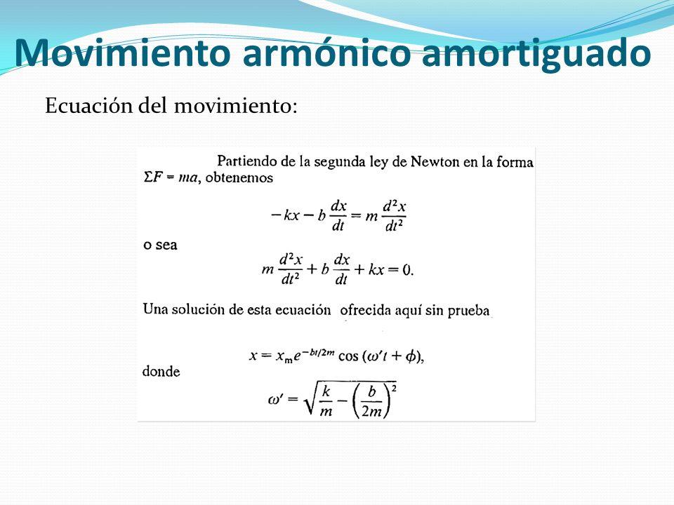 Movimiento armónico amortiguado Ecuación del movimiento:
