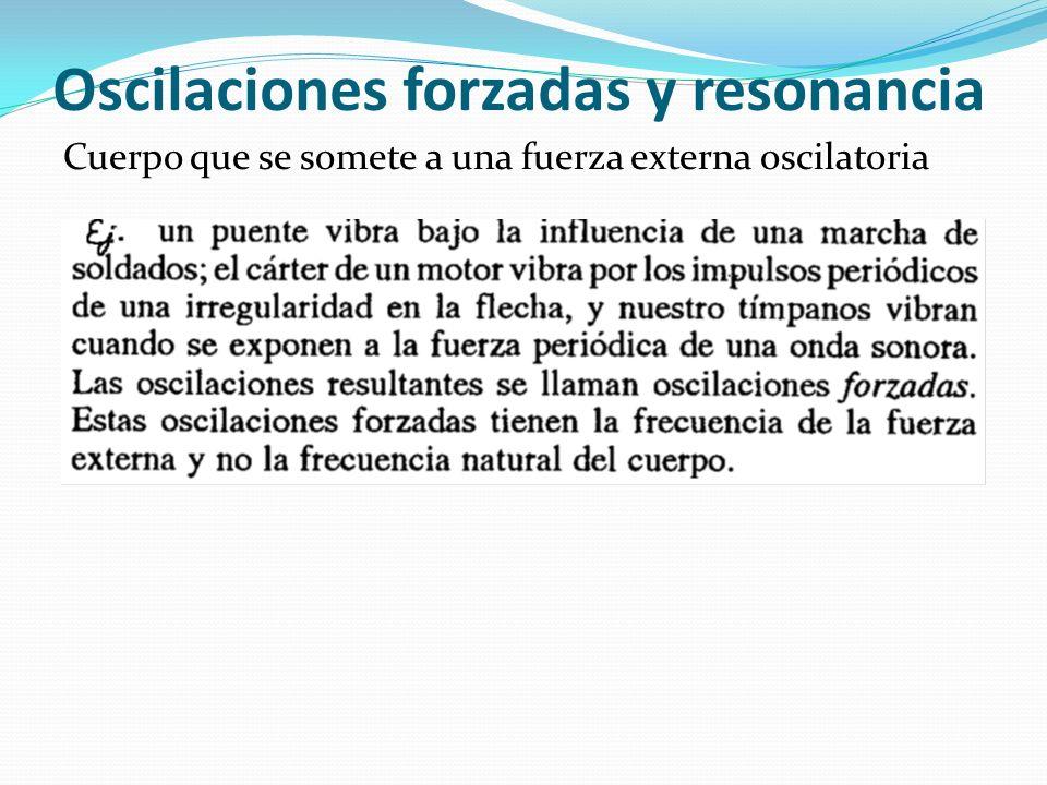 Oscilaciones forzadas y resonancia Cuerpo que se somete a una fuerza externa oscilatoria