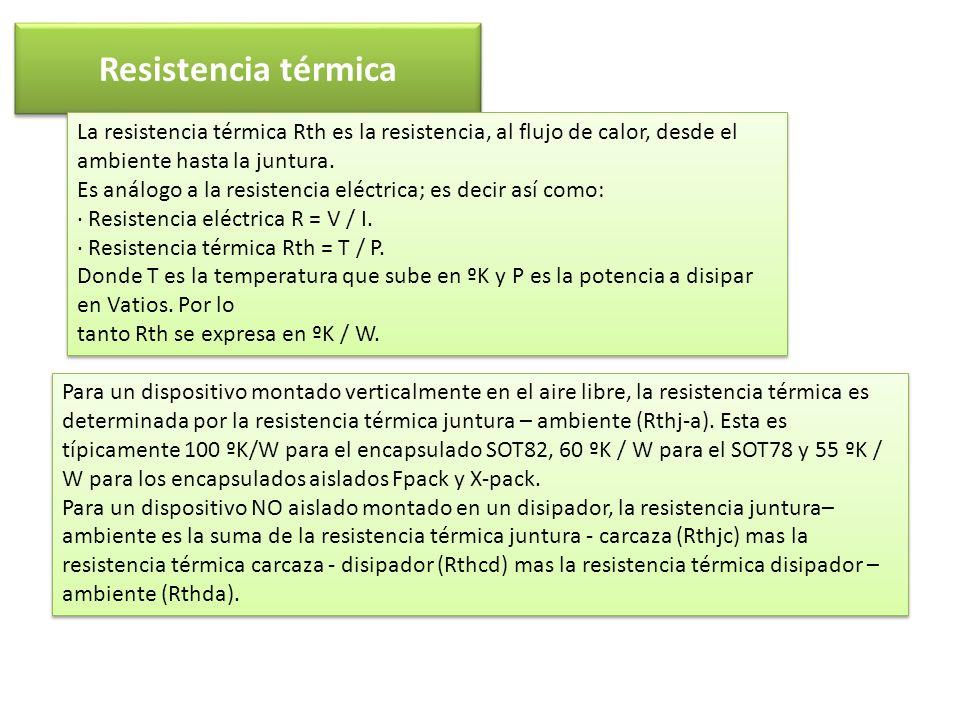 Resistencia térmica La resistencia térmica Rth es la resistencia, al flujo de calor, desde el ambiente hasta la juntura. Es análogo a la resistencia e