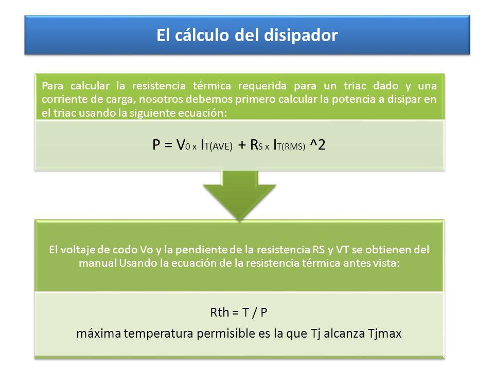 El cálculo del disipador El voltaje de codo Vo y la pendiente de la resistencia RS y VT se obtienen del manual Usando la ecuación de la resistencia té