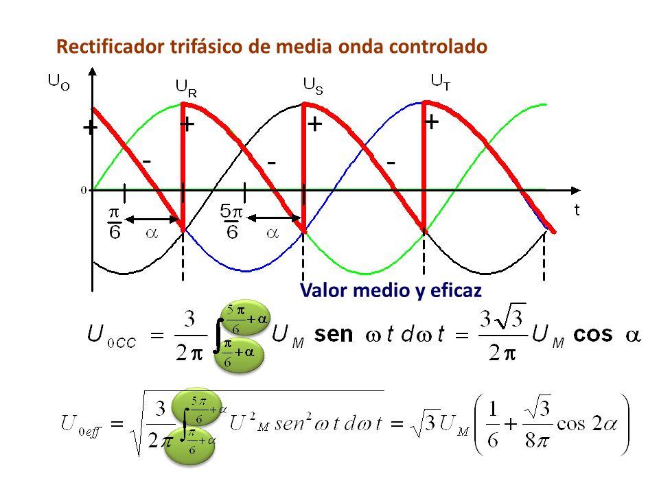 + - + + + Valor medio y eficaz Rectificador trifásico de media onda controlado - -