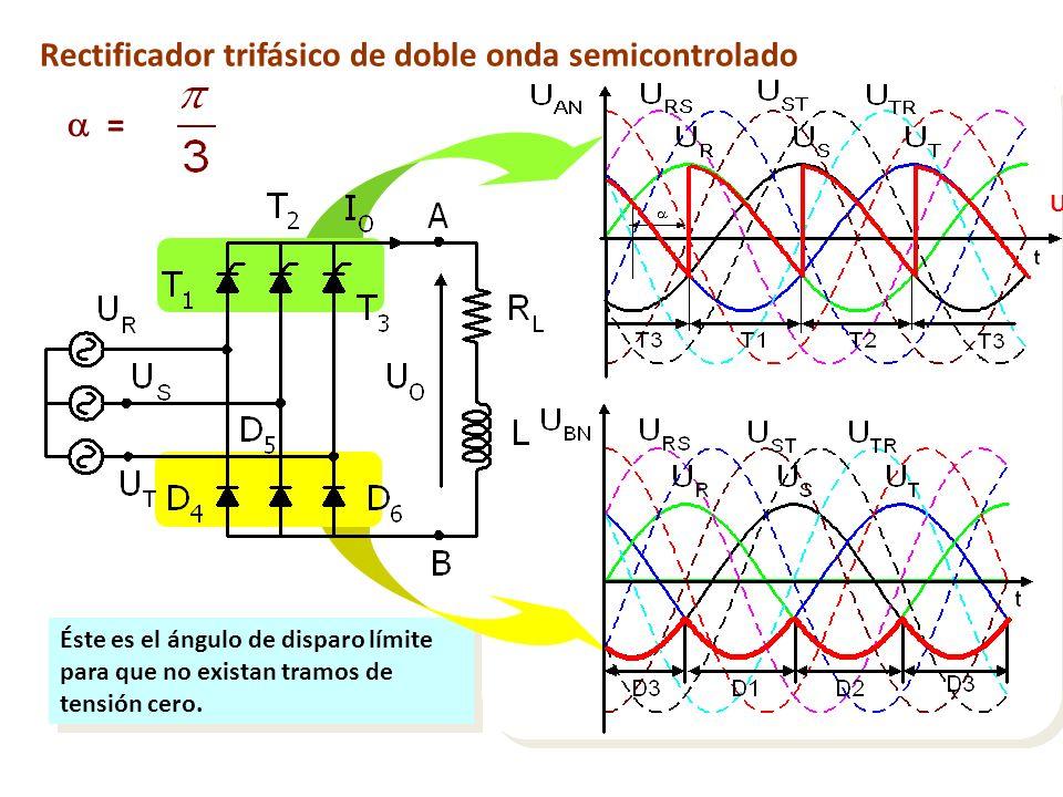 Éste es el ángulo de disparo límite para que no existan tramos de tensión cero. Rectificador trifásico de doble onda semicontrolado = U BN U AN