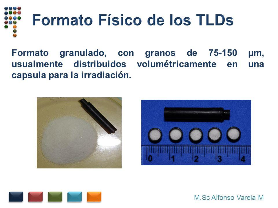 M.Sc Alfonso Varela M Formato granulado, con granos de 75-150 μm, usualmente distribuidos volumétricamente en una capsula para la irradiación.