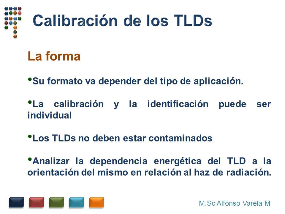 M.Sc Alfonso Varela M La forma Su formato va depender del tipo de aplicación. La calibración y la identificación puede ser individual Los TLDs no debe