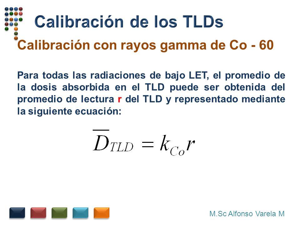 M.Sc Alfonso Varela M Calibración con rayos gamma de Co - 60 Para todas las radiaciones de bajo LET, el promedio de la dosis absorbida en el TLD puede ser obtenida del promedio de lectura r del TLD y representado mediante la siguiente ecuación: