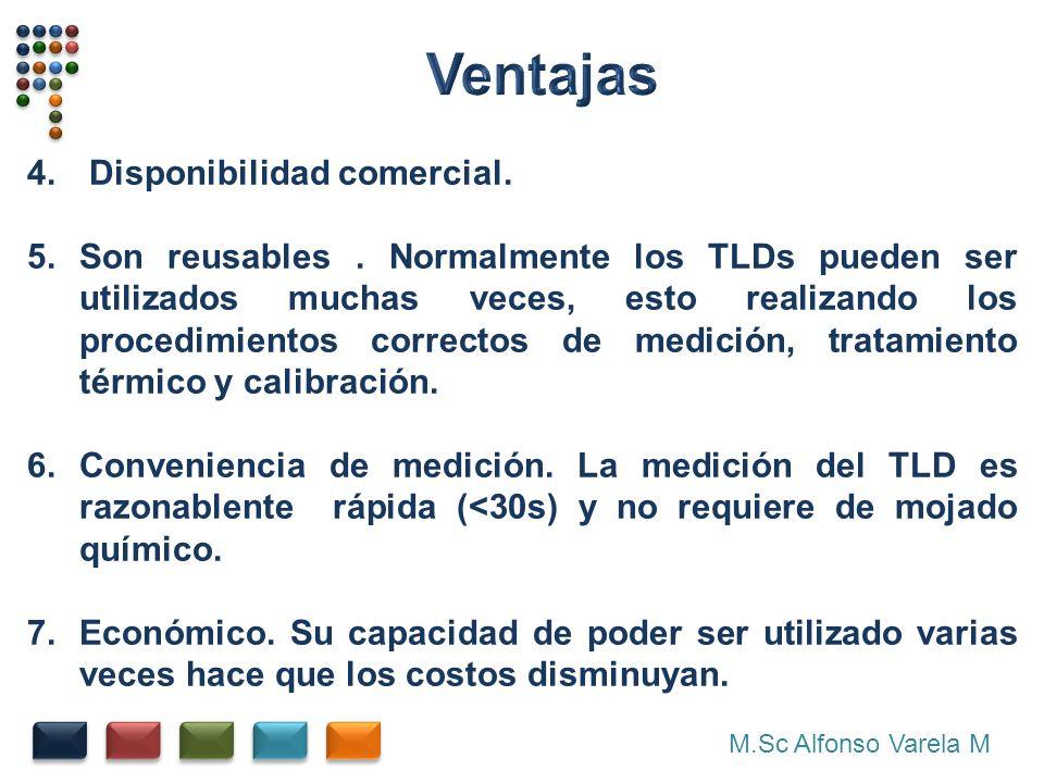 M.Sc Alfonso Varela M 4. Disponibilidad comercial. 5.Son reusables. Normalmente los TLDs pueden ser utilizados muchas veces, esto realizando los proce